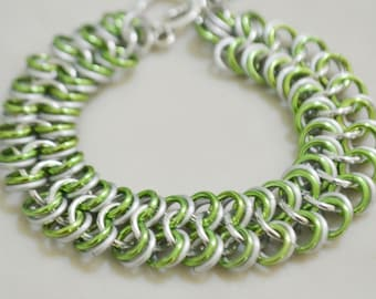 Kelly Green Chainmaille Bracelet Anodized Aluminum Emerald Green St Patricks Green