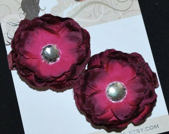 Dark Burgundy Flower Hair Clip Set - Buy 3 Items, Get 1 Free