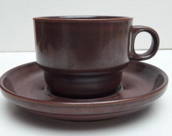 Vintage Thomas Kiruna Kombination Braun coffee cup and Saucer Retro 1970