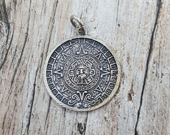 Vintage Sterling Silver Round Mayan Calendar Mexico Pendant