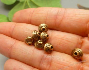 50 Copper Spacer Beads - Saucer Beads -Antique Tibetan Copper Bicone Ornate Metal Beads Lot - MB073