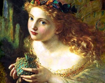 """Sophie Anderson - Take the fair face of woman from 1869, antique portraits, red haired woman, butterfliesin hair, 11 x 14"""" canvas art print"""