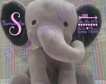Birth Announcement Elephant-Personalized Baby Stuffed Animal- Birth Gift