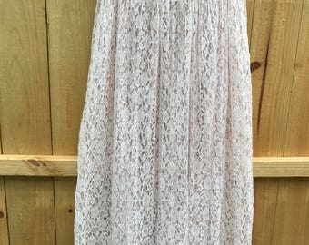Vintage 90s Sheer Lace Maxi Skirt By Express Tricot / Light Pink Long Lace Skirt