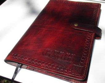 Personalized Leather Journal Large   Tooled Custom  border Diary. Book Cover A4 Size (8.3 x 11.7 Inches)