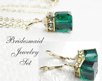 Emerald Green Crystal Jewelry Set, Swarovski Cube Necklace and Earrings, Gold Filled, May Birthday, Hunter Green Wedding, Bridesmaid Gift