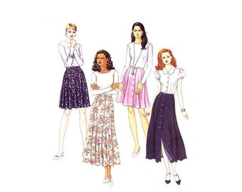 SALE Misses Front Buttoned Skirts in Two Lengths McCalls 8006 Sewing Pattern Size 10 - 12 - 14 Waist 25 - 26 1/2 - 28 UNCUT