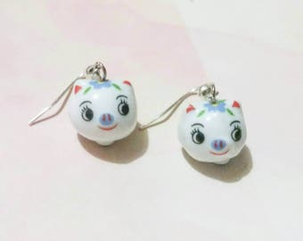 Porcelain pig earrings, porcelain earrings, spring earrings, pig flower earrings, beaded earrings, animal earrings, animal jewelry
