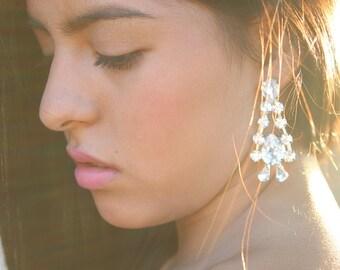 New Swarovski Opal Bridal Earrings  Chandelier Bridal Earrings Hollywood Earrings Gold Crystal Drop Earrings Vintage Bridal Earrings Bridal