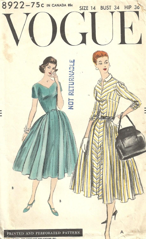Vogue 8922 / Vintage 50s Sewing Pattern / Dress / Size 14 ...