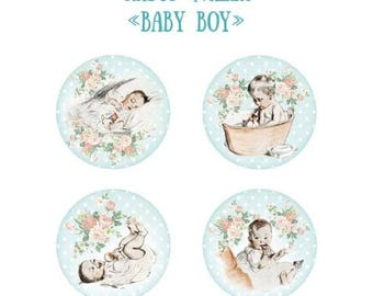 4 Flair buttons baby boy 25 mm