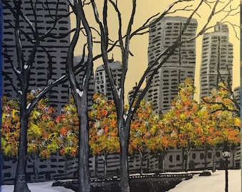 "Central Park Fall Original 11"" X 14"" Acrylic Painting on stretched canvas"