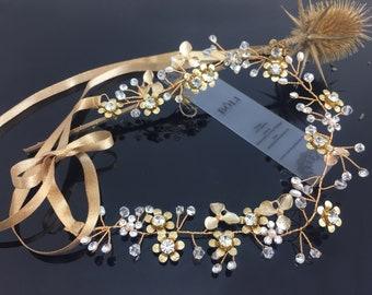 Bridal Hair Jewelry: Vintage Crystal Flower Band