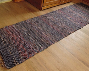 "Hand Woven Rag Rug Navy Blue Red Cotton Floor Runner 26"" x 92"""