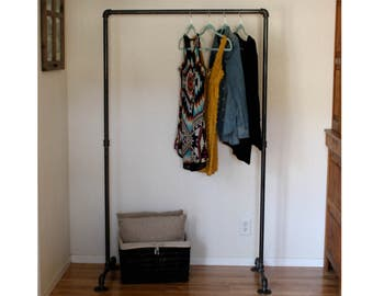 Industrial Clothing Rack - 90 Pipe Clothes Rack - Garment Rack - Retail Display - Pipe Closet - Industrial Furniture