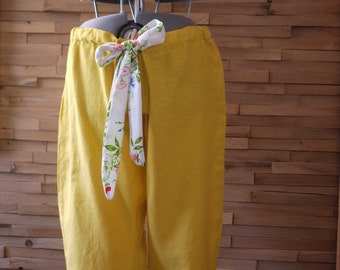 SALE Mustard Yellow Wide Leg Drawstring Low Rise Linen Pants~Plus Size Pant~Women's Linen Pants~Wide Leg Pants~Summer Pants~Size XL Pants~
