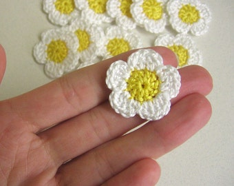 Handmade crocheted cotton tiny flower appliques set of twelve white daisies1 inch