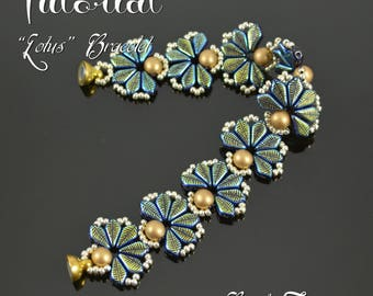 LOTUS Beaded bracelet pattern Beading tutorial with 2-hole Kite beads Seed beads Beadwoven flower bracelet pattern - TUTORIAL ONLY