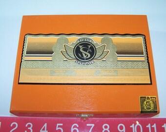 Empty Cigar Box Solid Wood Victor Sinclair Primeros Tabacos Toro Orange