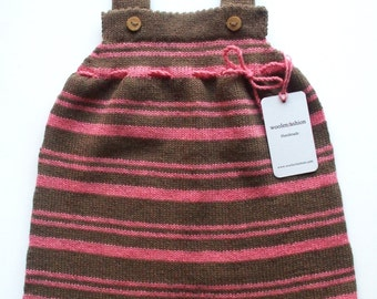 Babygirls/Girls knitted lambswool sleeveless Dress with oak buttons/babygirls/toddlers/tunic dress/pink/sweater/striped/brown