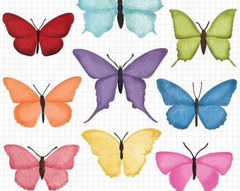 Butterfly Clipart for Digital Scrapbook Embellishment Instant Digital Butterflies Download Butterfly Clip Art