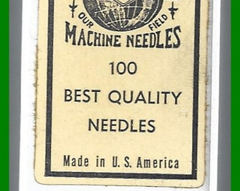 ON SALE Vintage Box 100 Twist Point SEWING Machine Needles Chrome Plated Singer No 23 Cold Swaged