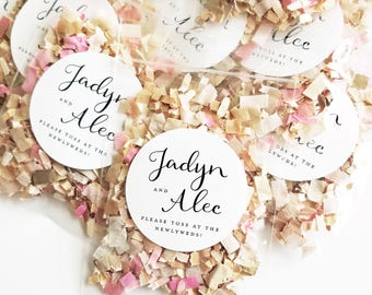 Wedding Confetti Toss Packets - Custom Biodegradable Confetti Bags - Pink, Ivory, Gold, Purple, Peach, Lilac - Eco-friendly Confetti