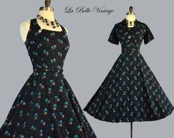 L'aiglon 50s Halter Dress Bolero S M Vintage Floral Sundress Set ~ Adjustable X Sunback