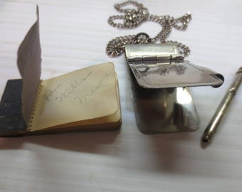 Vintage 50's Silver Tone Notebook And Pencil Pendant With Chain