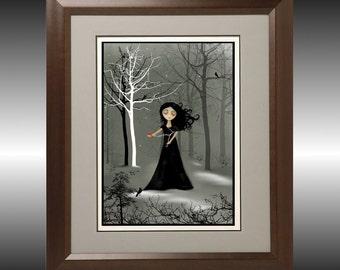 Dark Goth Girl Art Print --  Night is Falling