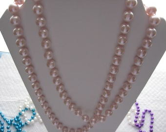 Vintage Pink Princess Opera Pearl Bead Necklace