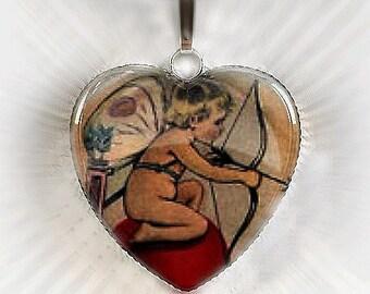 Glass Heart Cherub Valentines Pendant