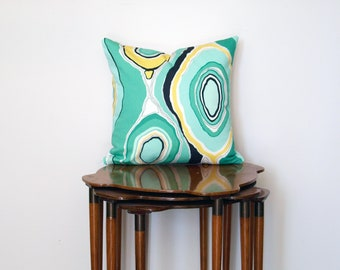 Graphic Wood Grain Print Pillow Cover, in Green, Yellow, Black + White