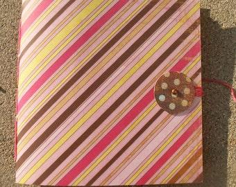 Hand Sewn Sketch Journal--Diagonal Stripes