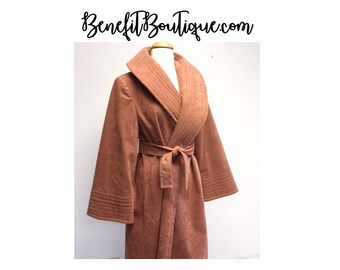 Vintage Wrap Coat Salmon Coral Pink Long Trench Belted Oversized Fall Winter Size 8 10 Medium Dusty Rose Blush Micro Suede Faux Cozy Retro