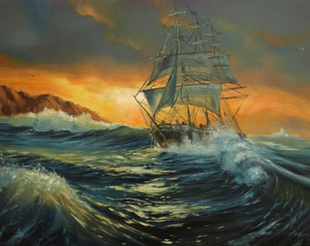 Ship at sea original oil painting 19x27in Seascape, gift for men Stormy sea home decor Storm in ocean Canvas art free shipping