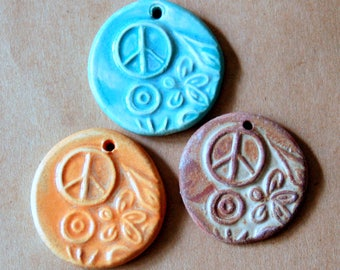 3 Handmade Ceramic Pendants - Peace Flower Power Beads - stoneware focal pendants in summer colors - boho orange rustic rust and aqua