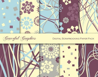 Scrapbook Paper Pack Digital Scrapbooking 10 Background Papers CONFETTI Scribbles DOODLE Flowers Brown Blue Gray Yellow 8.5 x 11 1463gg