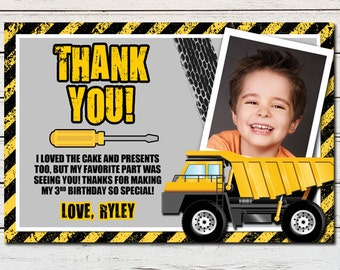 Construction Dump Truck Printable Thank You Card - DIY - PDF & JPG Files only