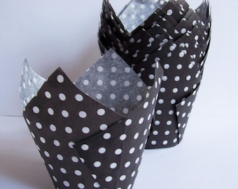 24 Black with White Dots Tulip Cupcake Liners