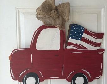 Fourth of July USA door hanger, patriotic door hanger, ready to customize!
