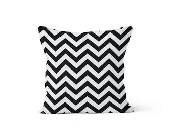 Black Chevron Pillow Cover - Zig Zag Black - Lumbar 12 14 16 18 20 22 24 26 Euro - Hidden Zipper Closure