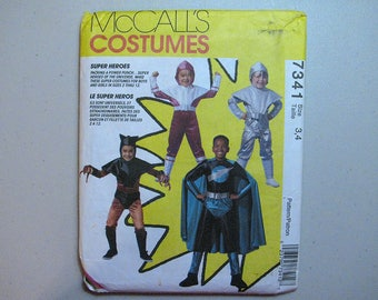 Vintage McCalls 7341 Halloween Costume Sewing Pattern - Child Super Hero Pattern Size 3, 4 - Sewing Supplies - Super Heroes Pattern