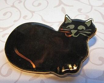 Black Cat Brooch Handmade Porcelain Ceramic Jewelry
