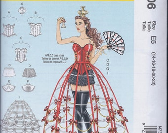 McCall's 7306 Misses Steampunk Cos Play Costume Corset Hoop Skirt Collar Crown UNCUT Sewing Pattern