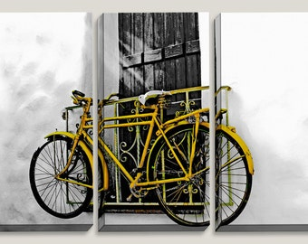 Famous Yellow Bike Mounted on Wall Naxos Greece, Greece Art, Canvas Art, Old Town, Sports, Cycladic Architecture, Home Decor, Yellow Decor
