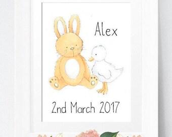 Gift for Baby Girl, Baby Shower Gift, Neutral Nursery, Baby Gift, Gender Neutral Baby, Rabbit Baby, Baby Room Decor, Gift for Children, Baby