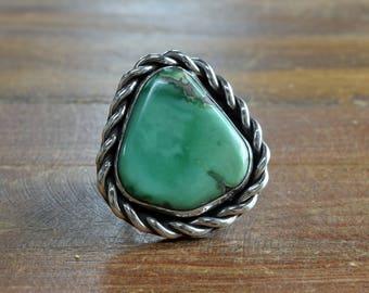 Vintage Navajo Variscite Sterling Silver Ring Size 11