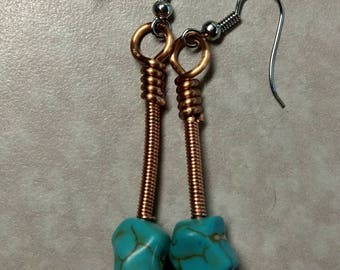 Copper and turquoise handmade dangle earrings