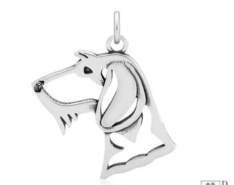 Sterling Silver Wire-haired Dachshund Pendant, Head